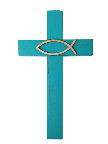 Wall Cross Aqua With Christian Fish Ichthus 9