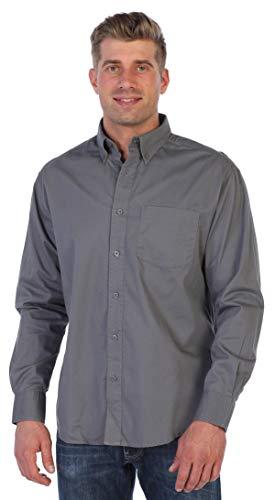 Gioberti Mens Long Sleeve Casual Twill Shirt, Gray, Large