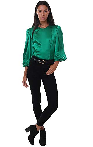 Silk Blouse Amanda (Amanda Uprichard Tops Blouson Sleeves Fitted Silk Chic Green Dressy B - Green - XS)