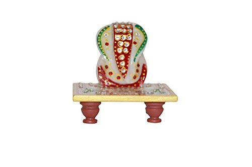 indiacolors Marble Ganesha Statue/Figurine on Peacock Painted marble base for prayer rituals, Home & Office Décor, and Gift for all -