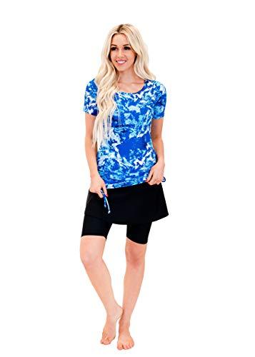 Ella Mae Modest Swimsuit for Women: Short Sleeve Rash Guard Swim Shirt & Swim Skirt w/Leggings (XS-XXXXL) UPF 50+: Making Waves + Black - -