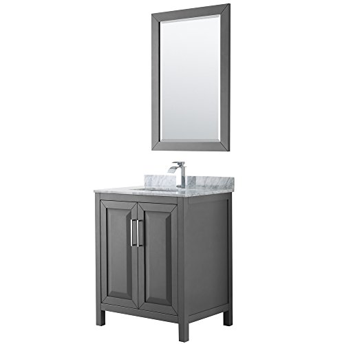 Wyndham Collection Daria 30 inch Single Bathroom Vanity in Dark Gray, White Carrara Marble Countertop, Undermount Square Sink, and 24 inch Mirror