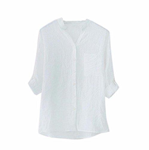 SANFASHION Bekleidung Camicia - con Bottoni - Tinta Unita - Donna Bianco