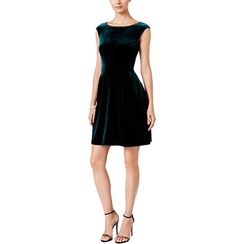Vince Dress Pleated (Vince Camuto Women's Extended Cap Sleeve Fit and Flare Dress, Green, 2)