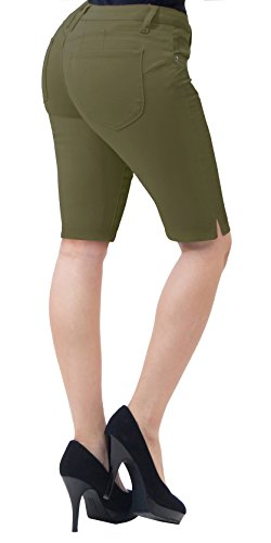 HyBrid & Company Super Comfy Stretch Bermuda Shorts B43308X Army Green -