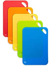 SUPJOYES Flexible Cutting Board Mats: Color Coded Plastic Cutting Board with Food Icons, Set of 5 Piece, BPA-Free, Non-Porous, Dishwasher Safe, Textured Non-Slip Backing Design with Hanging Hole