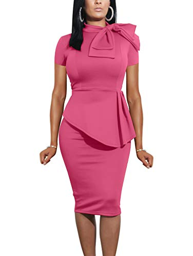 (LAGSHIAN Women Fashion Peplum Bodycon Short Sleeve Bow Club Ruffle Pencil Party Dress Rose)