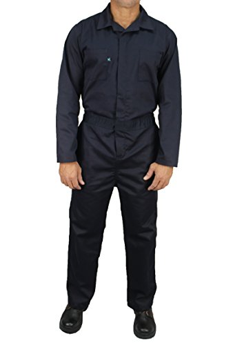 Kolossus Deluxe Long Sleeve Cotton Blend Coverall with Multi Pockets and Antistatic Zipper (Navy Blue, Large) ()