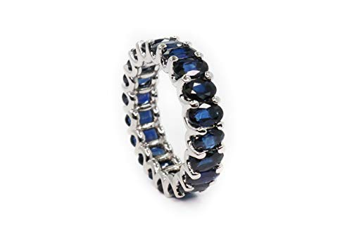 - Albert Hern 5.7 ct Natural Blue Sapphire Eternity Ring 18kt White Gold Band for Women Size 7 | Ideal for Weddings, Engagement, Bridal Set, Valentine's Day, Anniversary & Birthday Gift