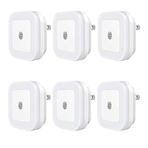 Veesee Plug in LED Night Lights,for Kids with Dusk to Dawn Sensor for Bedroom, Bathroom, Kitchen, Hallway, Stairs, Daylight White,Smart Adjustable Sensor, 6-Pack