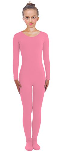 VSVO Kids Pink Scoop Neckline Unitard with Socks Catsuit Dancewear (Small, Pink) (Pink Catsuit)