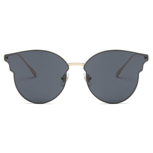 SOJOS Fashion Cateye Women Sunglasses Mirrored Lens Stainless Steel Frame SJ1055 with Gold Frame/Grey Lens