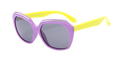 XFentech Unisexe Enfants Polarisées Lunettes de Soleil pour Garçons & Filles Mode Monture en caoutchouc flexible Sport Lunettes Violet/Jaune