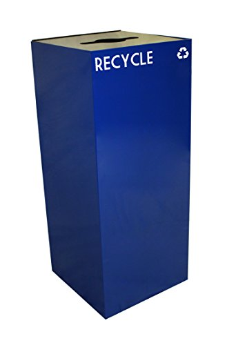 - Witt Industries 36GC04-BL GeoCube Recycling Receptacle with Combination Slot/Round Opening, Steel, 36 gal, Blue