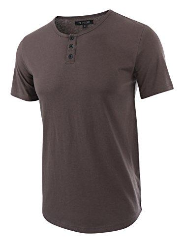 (HETHCODE Men's Classic Comfort Soft Regular Fit Short Sleeve Henley T-Shirt Tee Charcoal XXL)