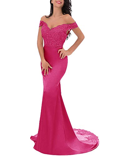 Off-Shoulder Split Evening Gown Lace Mermaid Prom Dress Applique Bridesmaid Dress Hot Pink US12 (Pink Bridesmaid Hot)