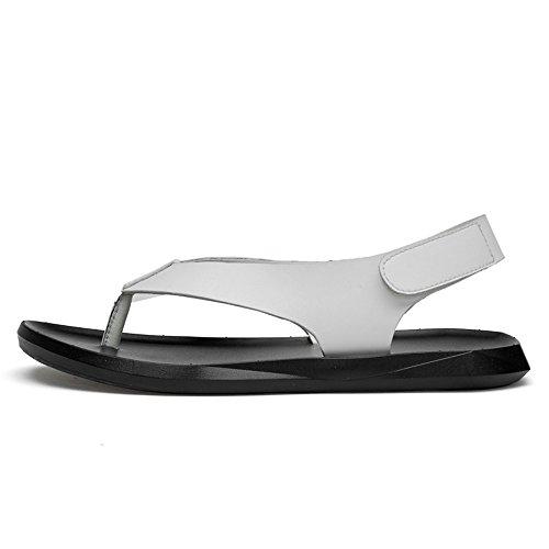 5 37 White estate suola casual uomo spiaggia da strap sandali vera pelle White Da sandali Loop amp; in Hook antiscivolo pantofole chiuso uomo Wenquanshoes 1qCBRw