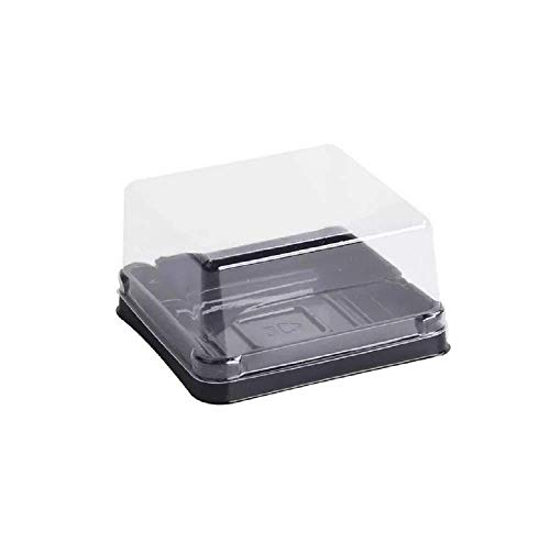 50 Sets 2 1/2 inch X H 1 1/2 inch of Clear plastic mini cake box muffins box cookies cookies muffins dome box wedding birthday gift box (100 g black)