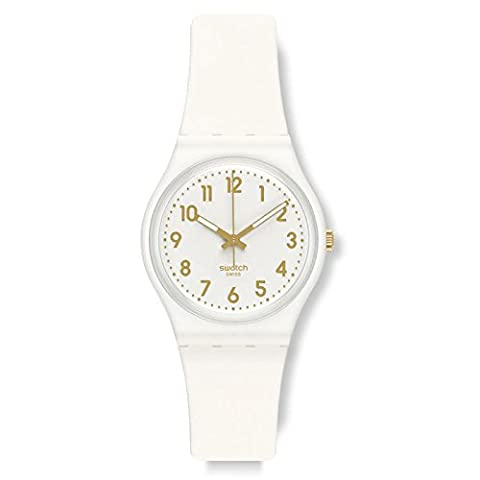 Swatch White Bishop White and Gold Dial Plastic Silicone Quartz Ladies Watch GW164 (Sport Swatch Men)