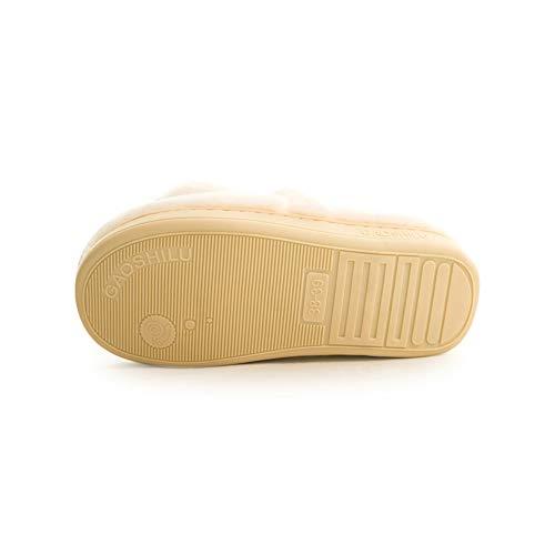 Femme Coton Maison La 40 À Sac Noir En L'accouchement Polaire Pantoufles Chaussures dérapant Taille Anti 39 couleur Épais Blanc Lune Td Intérieur Après Fond Enceinte tEx04fqw
