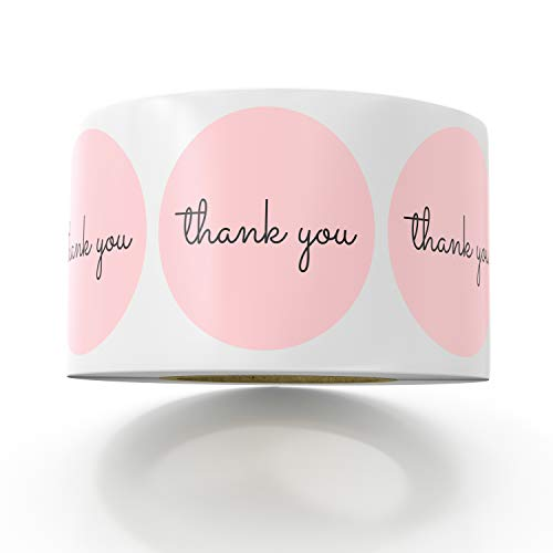 (Sweetzer & Orange Thank You Stickers | 1.5 inches | 1000 Pink Stickers for Company Giveaway & Birthday Party Favors | Labels & Mailing Supplies for Small Business Boutique Bags & Merchandise Bags)