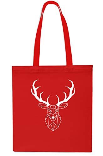 Geometric Stag Head Tote Shopping Gym Beach Bag 42cm x38cm, 10 litres-Sapphire Red