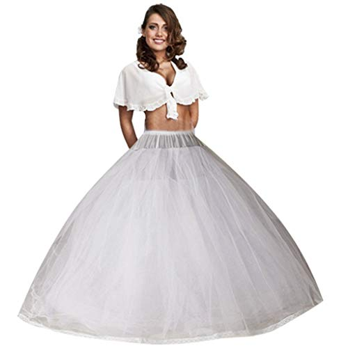 Ieuan Full White Ball Gown 8 Layers No Hoops Wedding Accessories Petticoat Underskirt Slips Quinceanera Gown for Wedding Dress ()