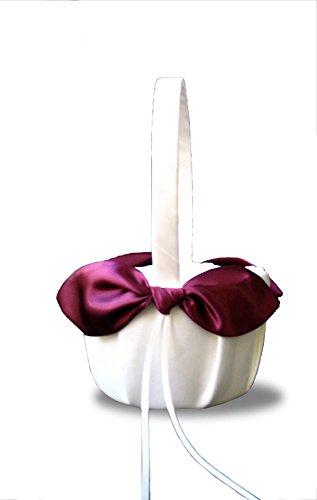 SACASUSA(™) Burgundy Satin Bow Ivory Wedding Flower Girl Basket