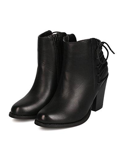 Betani Fg41 Kvinner Leather Tilbake Snøring Chunky Hæl Bootie - Svart