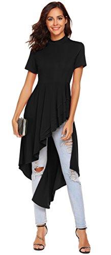 SimpleFun Womens Sexy Short Sleeve Asymmetric Ruffle Peplum Top Clubwear Dress (Black,Large)
