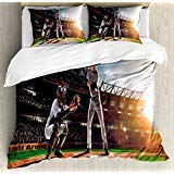 Ambesonne Teen Room Duvet Cover Set, Professional Baseball Players in The Stadium Playing The Game Pich Sports Print, 3 Piece Bedding Set with Pillow Shams, Rainbow Colors