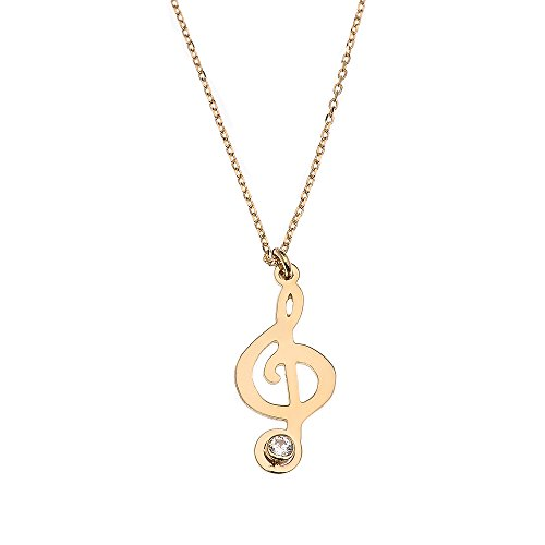 (14k Yellow Gold Treble Clef Charm Music Note Cubic Zirconia Pendant Necklace, 16
