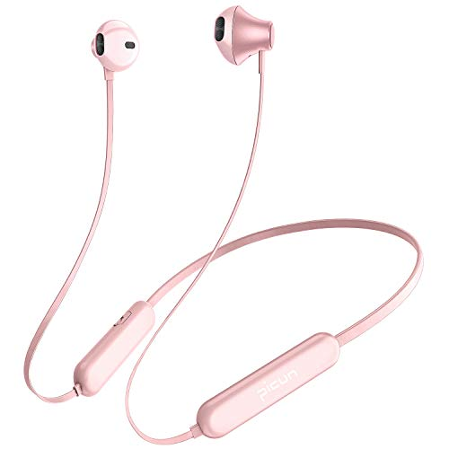 Picun Bluetooth Headphones 20Hrs Playtime Wireless Sport Earphones Neckband with Mic, IPX5 Sweatproof HiFi Bass Stereo Headphones Bluetooth 5.0 Magnetic Earbuds for Workout Gym Running (Rose Gold)