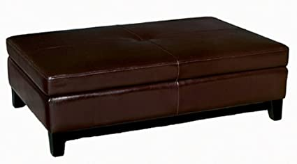Baxton Studio Full Leather Cocktail Storage Ottoman, Espresso Brown