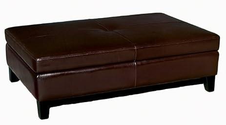 Amazoncom Full Leather Cocktail Storage Ottoman Espresso Brown