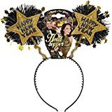[Gold Happy New Year Head Boppers Job Theme Hats Caps & Headwear For Fancy Dress] (Happy New Year Boppers)