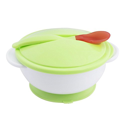 Toddler Baby Feeding Eating Food Non-Slip Two-Handed Sucker Bowl + Spoon Green