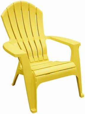 RealComfort 8371-19-3700 Adirondack Chair, Ergonomic, Resin, Yellow - Quantity 24