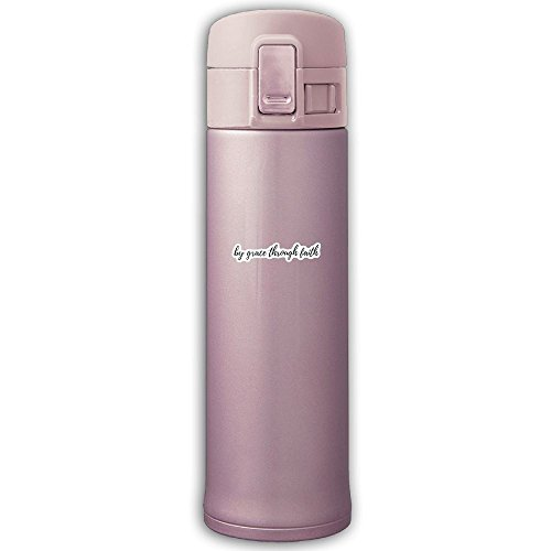 By Grace Through Faith Stainless Steel Water Bottle Travel Mug, 17 Oz, Pink by PTSocks