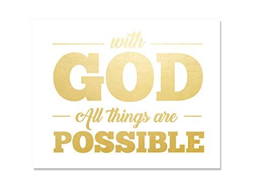 with God All Things are Possible Gold Foil Print Jesus Christ Jehovah Art Devotional Dorm Office Christian Religious Biblical Verse Handmade Home Office Wall Decor Motivational Inspirational (8 x 10)
