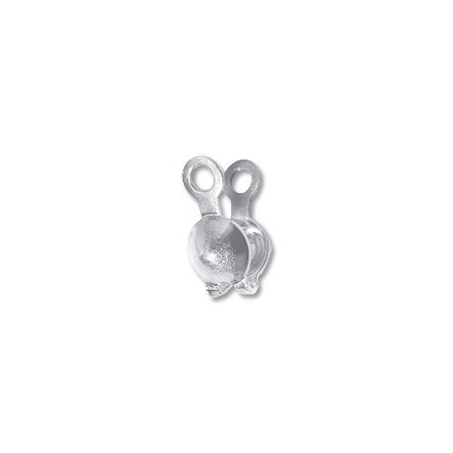Clam Shell Bead Tip 3.5mm Cup with Double Loop Sterling Silver - Tips Bead Double Cup