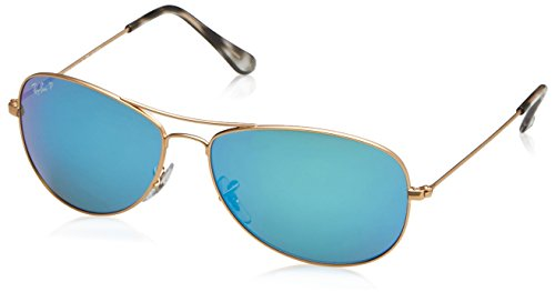 Ray-Ban RB3562 Chromance Mirrored Aviator Sunglasses, Matte Gold/Polarized Blue Mirror, 59 mm ()