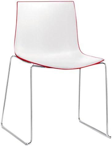 arper Catifa 46 0278 Stuhl zweifarbig Kufe Chrom, weiß rot
