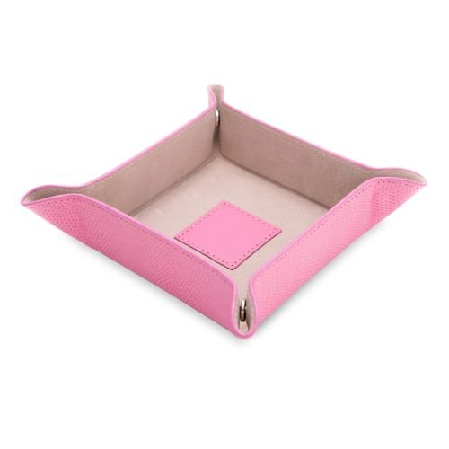 - Bey-Berk Pink Lizard Print Leather Snap Valet Tray with Pig Skin Leather Lining