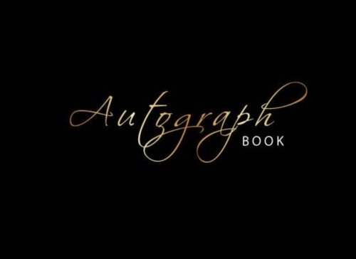 (Autograph Book: Gold, Signature Celebrity Memorabilia Album Gift, Blank Unlined Scrapbook Favorite Baseball, Basketball, Football, Sports Stars, Cartoon, 8.25