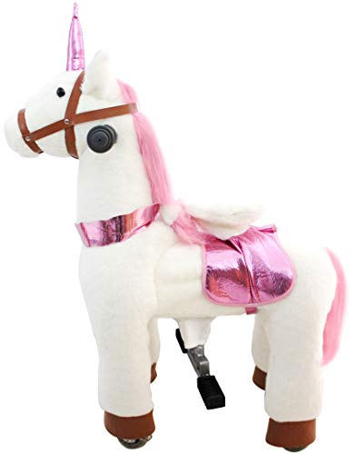 JoJoPooNy Mechanical Walking Unicorn Ride on Horse Toy with Wheels Giddy-Up Moving Horse Action Pony Riding on Toy Unicorn for Age 3-6 Children Kids Ride-on Toys 27 Inch Height
