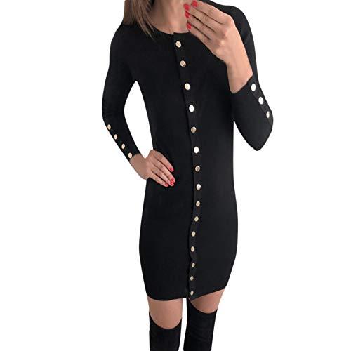 e Solid Color Women Sweater Dress Buttons Dress(Black,S) ()