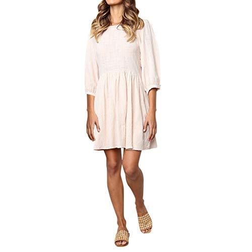 ANJUNIE Women Solid Color Round Neck Short Dress Half Sleeve Dress Evening Party Mini ()