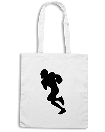 T-Shirtshock - Bolsa para la compra WC1018 American Football Player 4 Blanco