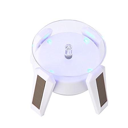 Blaues Licht lanlan 4/pieds solaire Dirigeable Bijoux Film de support avec lampe LED Tourner Tournante Plaque D/écoration Table Display Stand Gold